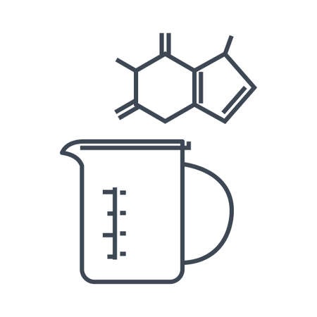 Thin line icon chemical laboratory equipment, beverages and food, medical industry, beaker, chemical formula 向量圖像