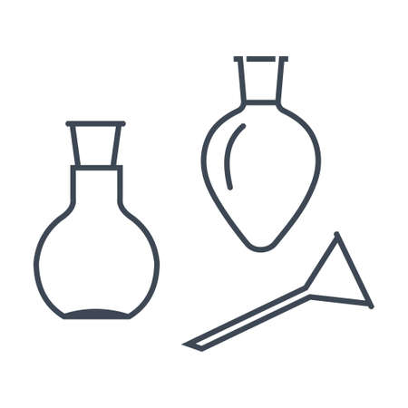 Thin line icon chemical laboratory equipment, beverages and food, medical industry, flask, funnel