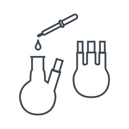 Thin line icon chemical laboratory equipment, beverages and food, medical industry, pipette and flask