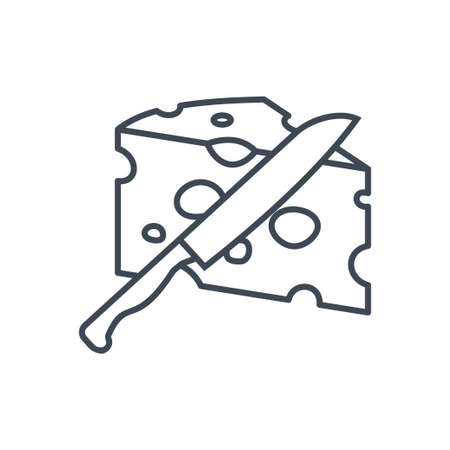 Thin line icon food industry, manufacture of dairy, cheese production, cutting