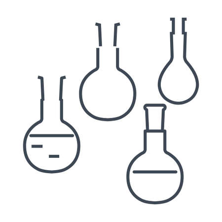 Thin line icon chemical laboratory equipment, beverages and food, medical industry, flask