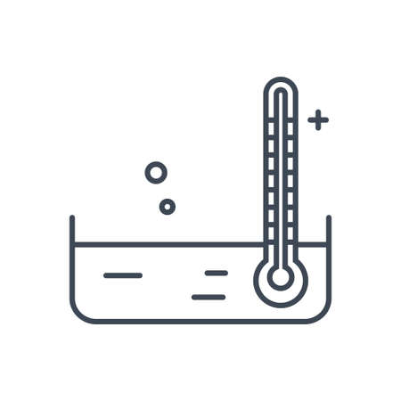 Thin line icon thermometer measures the temperature of the water, beverages industry