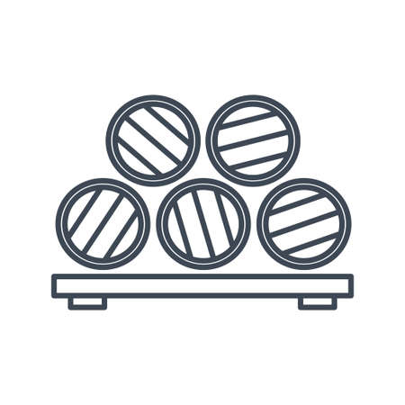 Thin line icon storage of wine and beer in barrels 向量圖像
