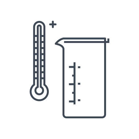 Thin line icon chemical laboratory equipment, beverages and food, medical industry, beaker, thermometer 向量圖像