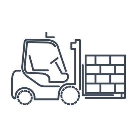 Thin line icon warehouse, loading, freight terminal, forklift truck loading pallet