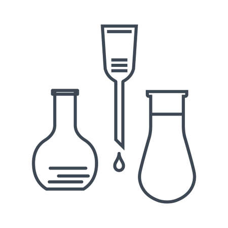 Thin line icon chemical laboratory equipment, beverages and food, medical industry, flask, dropper 向量圖像