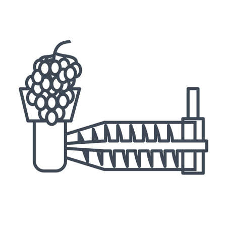 Thin line icon production of wine plant, grinder, crushing grape