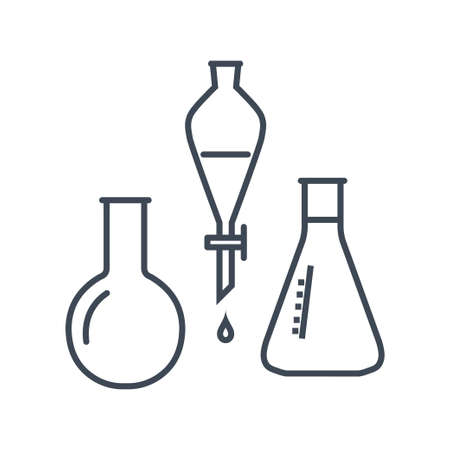 Thin line icon chemical laboratory equipment, beverages and food, medical industry, volumetric flask, dropper