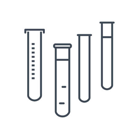 Thin line icon chemical laboratory equipment, beverages and food, medical industry, test tube