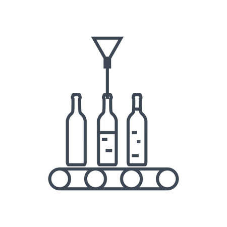 Thin line icon beverages industry, bottling juice, wine packing conveyor