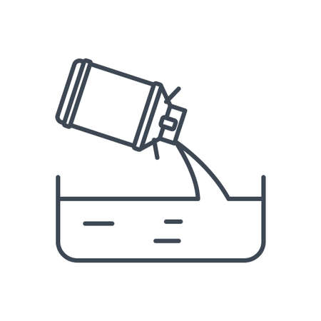 Thin line icon manufacture of dairy products, milk churn pouring