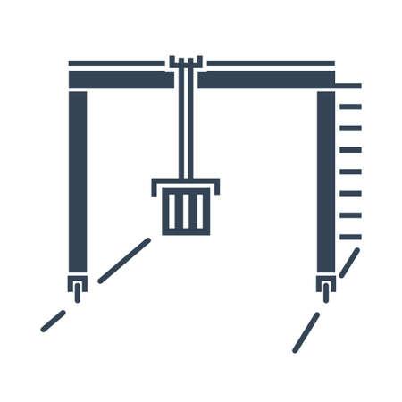 Vector black icon container industrial crane, loading