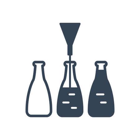 Vector black icon beverages industry, bottling, pouring drinks Ilustração