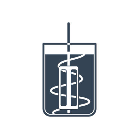 Vector black icon beverages industry, mixing, blending liquid for cooking Ilustração