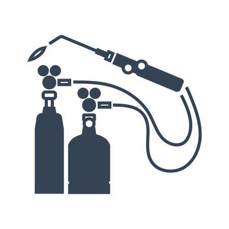 Vector black icon gas welding, car repair service, cylinder Ilustração