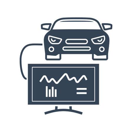 Vector black icon car repair service, maintenance, computer diagnostic scan tool, electrical, electronic car systems Ilustração