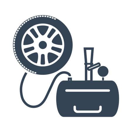 Vector black icon car repair service, maintenance, inflating tire, wheel, air compressor, pressure monitoring, tread