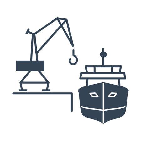 Vector black icon loading and unloading cargo ship, harbor crane
