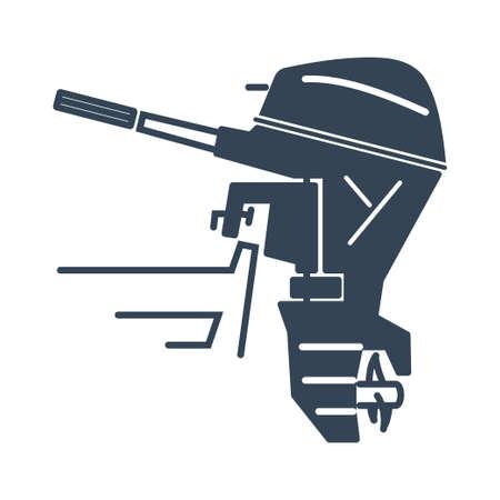 Vector black icon outboard engine boat motor Ilustração