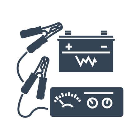 Vector black icon car service, maintenance, charging car battery, jumper power cables, voltmeter