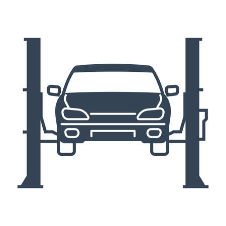 Vector black icon car repair lift, service, maintenance