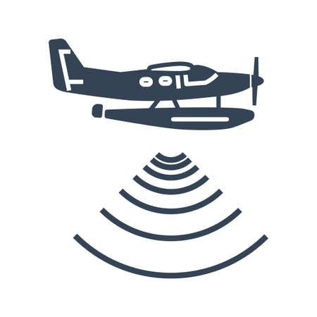 Vector black icon seaplane, hydroplane, radar