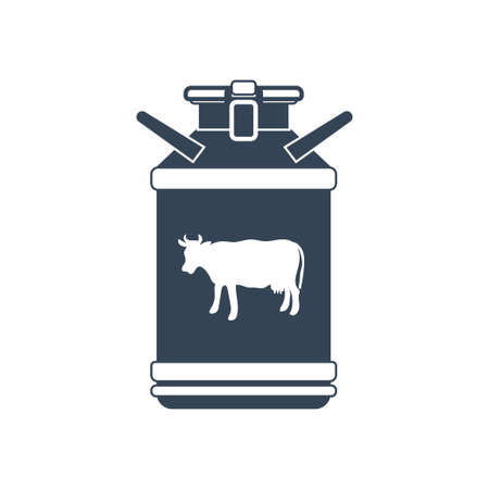 Vector black icon manufacture of dairy products, milk churn, cow