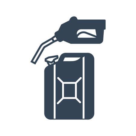 Vector black icon gas station, gasoline pump nozzle, fuel can Ilustração