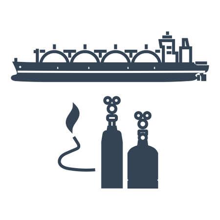 Vector black icon ocean gas tanker, liquefied petroleum gas industry Ilustração