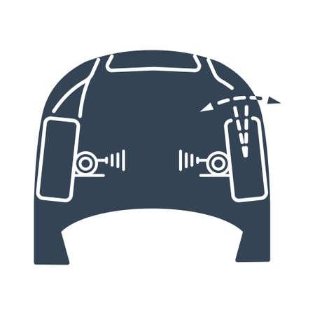Vector black icon car repair service, maintenance, wheel alignment, adjustment of toe angle