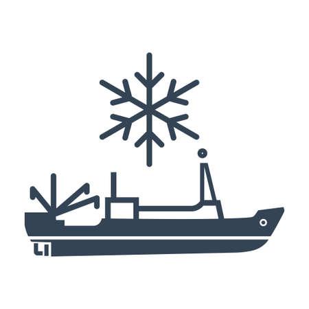 Vector black icon sea refrigerator ship, trawler, seiner Ilustração