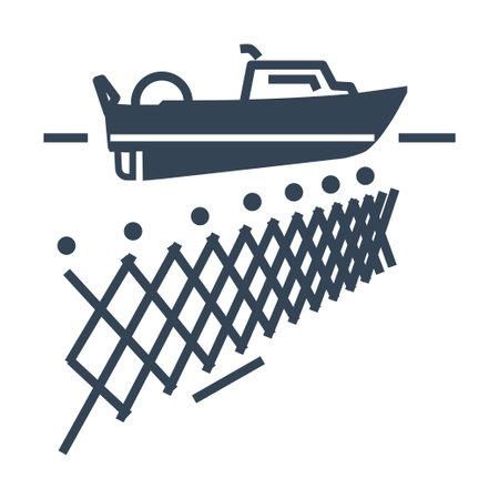 Vector black icon fishing boat, fishnet