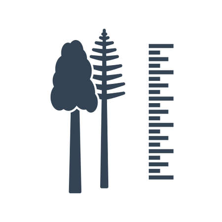 Vector black icon forestry and silviculture, tree measurement
