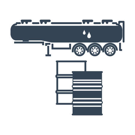 Vector black icon freight road land transport, fuel tanker semi-trailer Ilustração