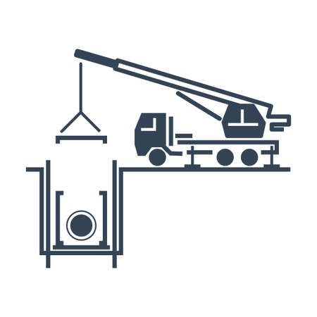 Vector black icon construction, repair and maintenance sewerage, water supply, truck crane