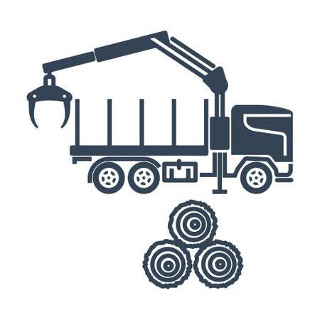 Vector black icon freight road land transport, forestry vehicle, forwarder and skidder Ilustração