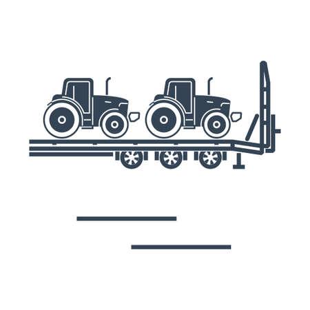 Vector black icon freight road land transport, car carrier trailer, tractor Ilustração