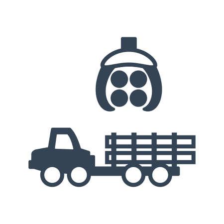 Vector black icon forestry and logging industry, forwarder and skidder, harvester machine Ilustração