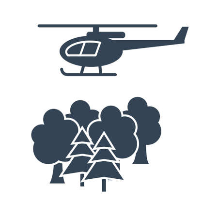 Vector black icon forestry and silviculture, forest protection, helicopter Ilustração