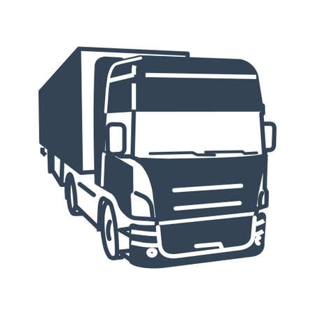 Vector black icon freight road land transport, truck and semi-trailer