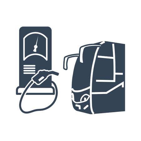 Vector black icon passenger road land transport, bus on gas station