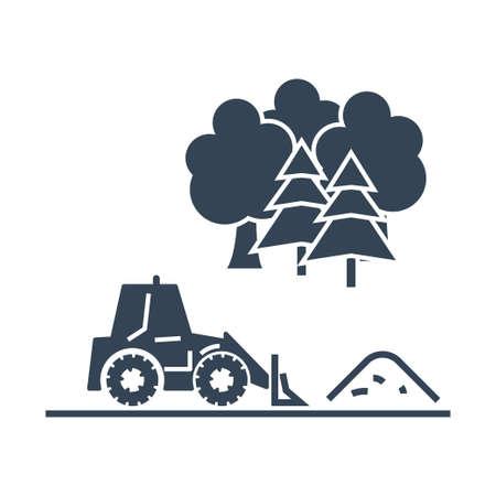 Vector black icon bulldozer raking sand, gravel, soil, rubble Ilustração