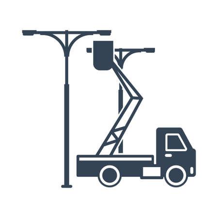 Vector black icon street lighting installation, service and maintenance