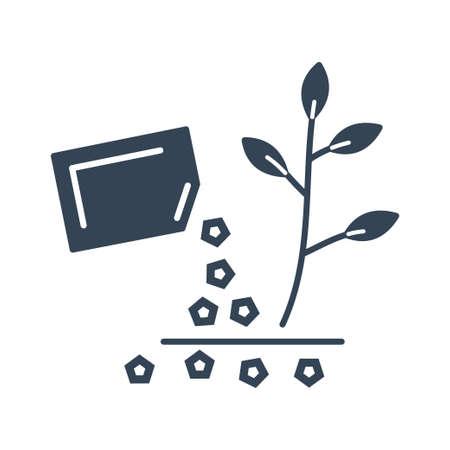 Vector black icon germination, growing plants, soil fertilizer Ilustração
