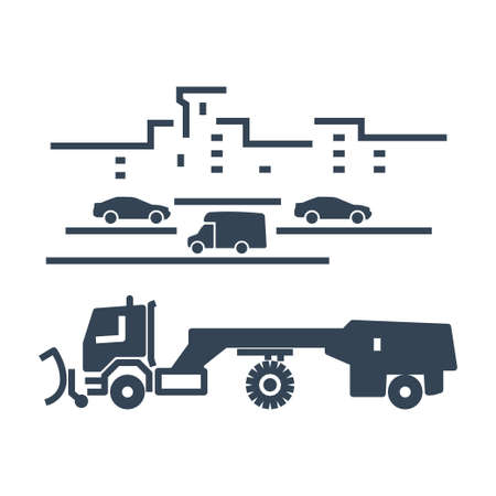 Vector black icon street snow removing plow truck clearing road, heavy equipment Ilustração