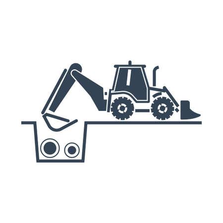 Vector black icon construction, repair and maintenance sewerage, water supply, bulldozer, excavator