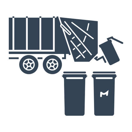 Vector black icon garbage truck, recycle bins, trash cans Ilustração