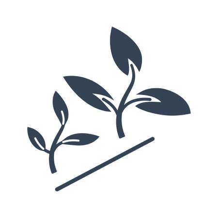 Vector black icon agriculture, growing plants Ilustração