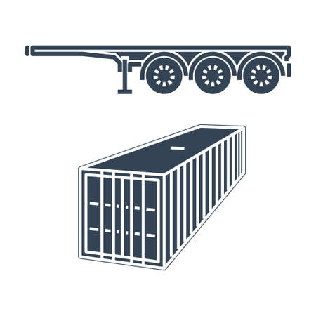 Vector black icon freight road land transport, container carrier semi-trailer