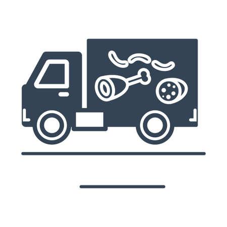 Vector black icon freight road land transport, food delivery truck Ilustração